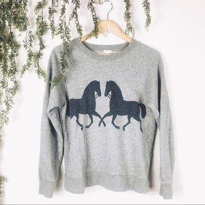 J Crew | Gray Equestrian English Horse Sweatshirt